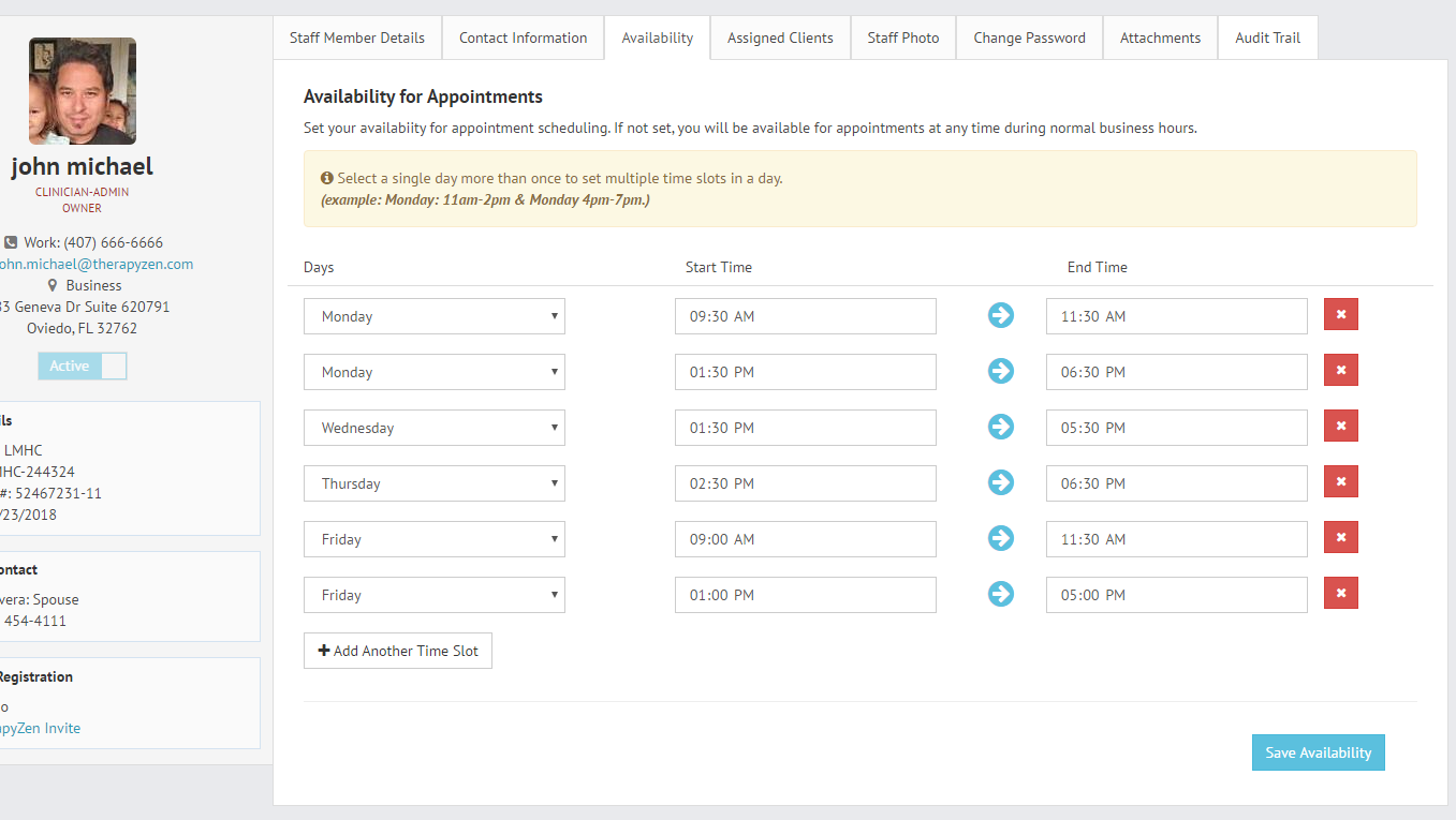 Setting clinician availability for appointments in the TherapyZen client portal