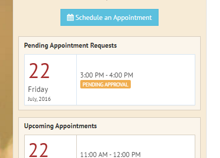 Pending appointments widget in the client portal