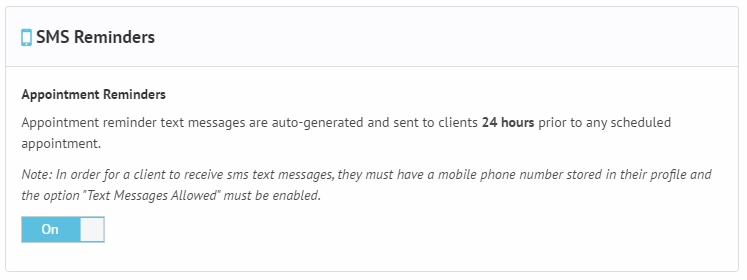 SMS Appointment Reminders in TherapyZen